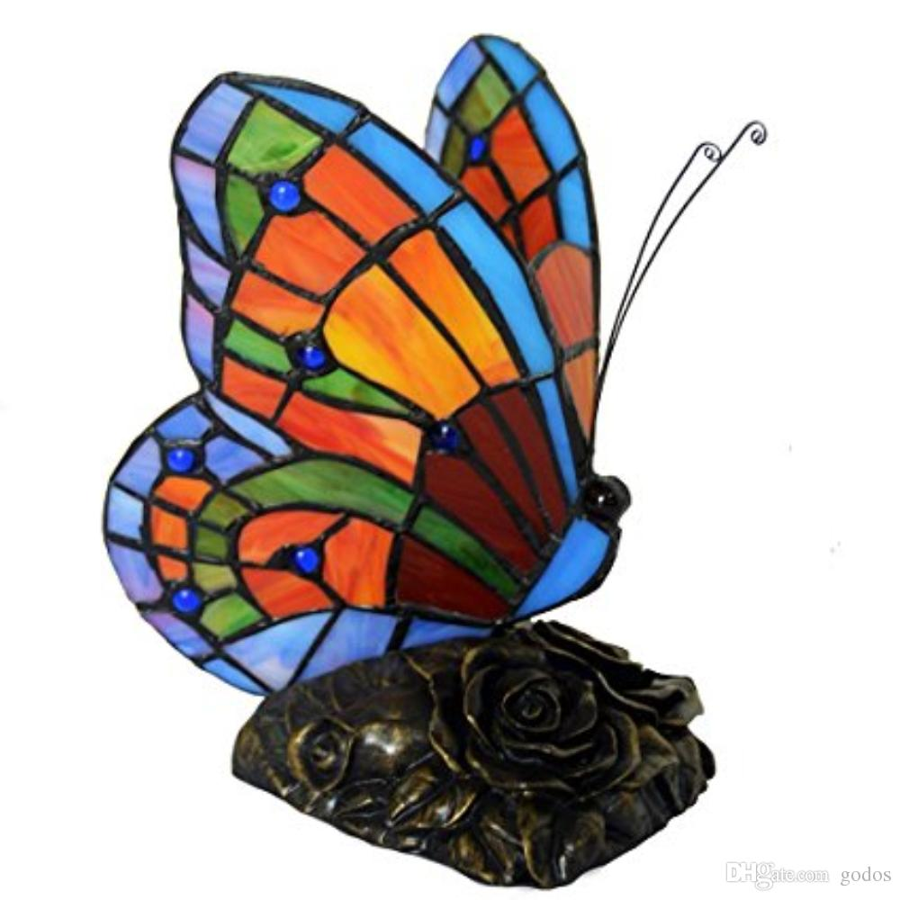 tiffany style stained glass butterfly accent table lamp with lamps handmade shade art pure hand colored from godos lewis wood modern furniture design tool cabinet target round