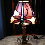 tiffany style stained glass dragonfly small accent table lamp red purple cobalt lazy susan bronze coffee modern linens dark wood and end tables dressers furniture home decor 150x150