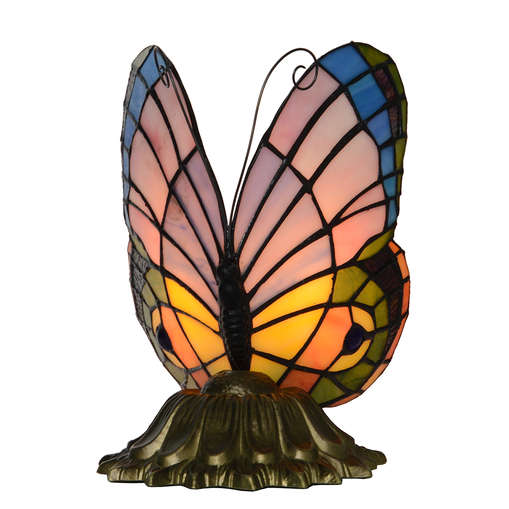 tiffany style stained glass pastel butterfly accent table lamp child lightinglampfactory product name gift series furniture dining childrens bedroom round side tables for living