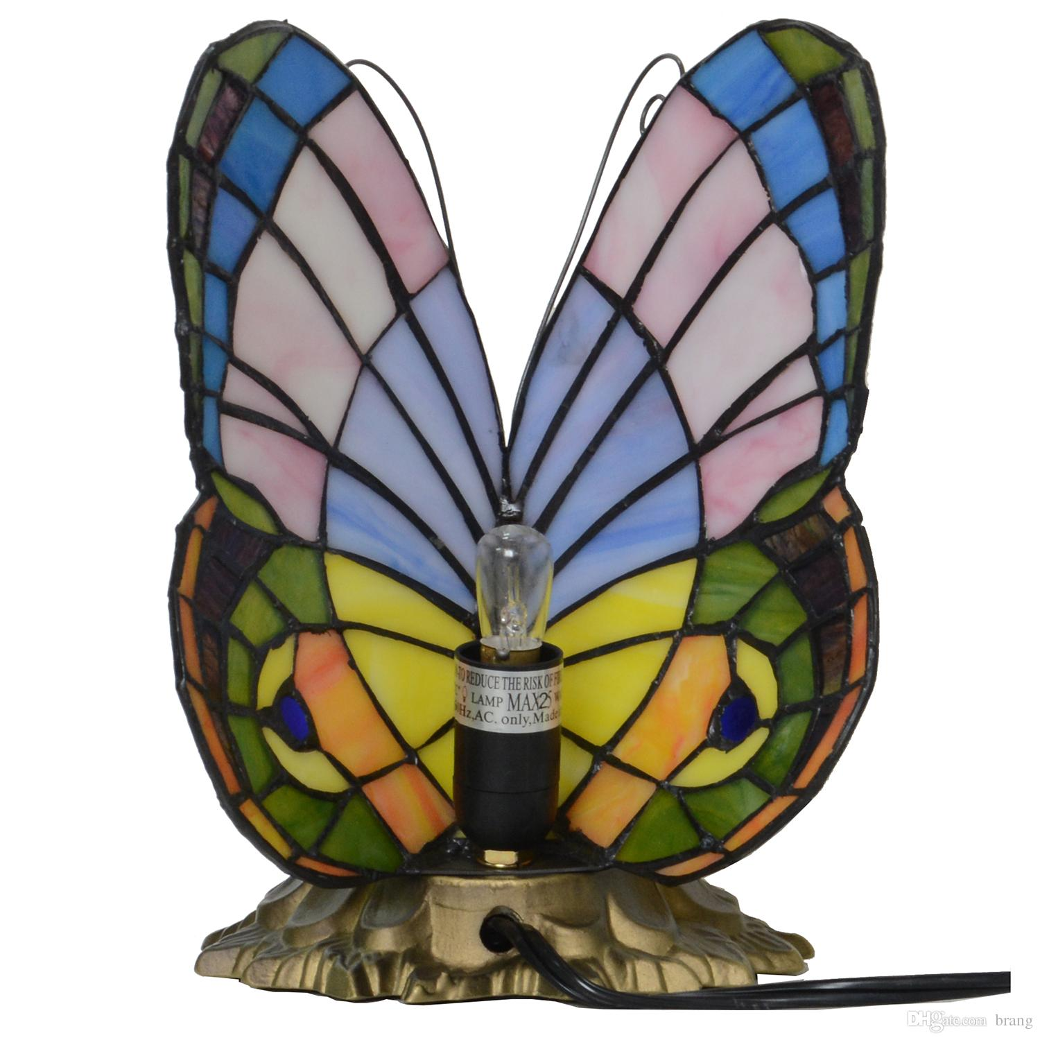 tiffany style stained glass pastel butterfly accent table lamp oval cover outside chairs very small nightstand entrance way tables long console with drawers clearance deck