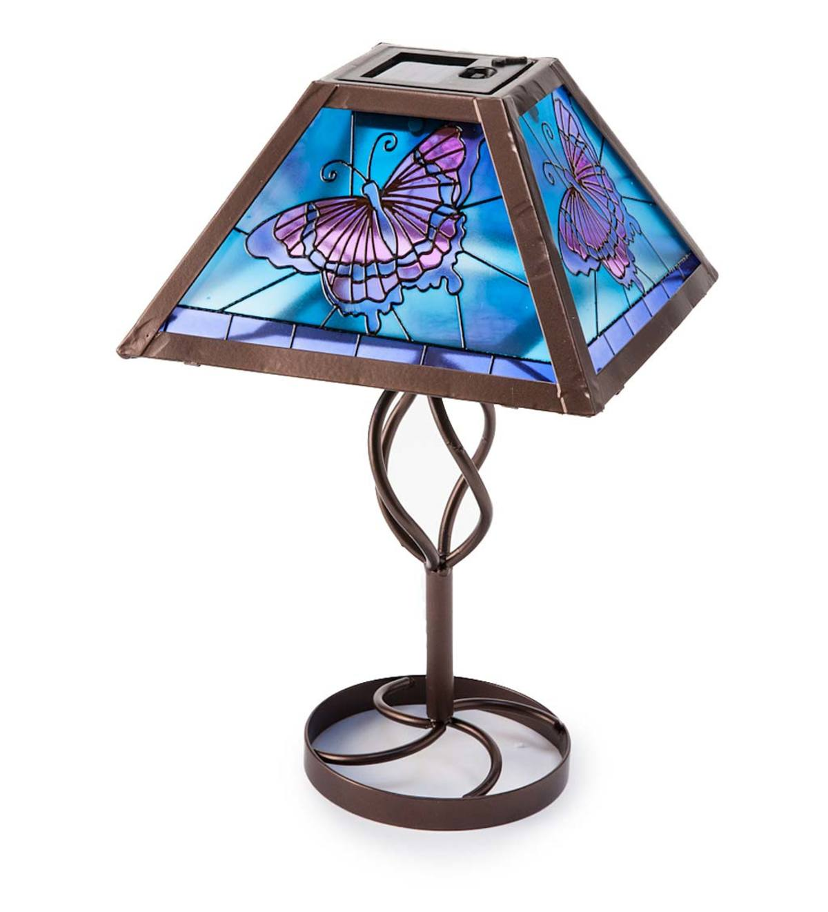 tiffany style stained glass solar outdoor table accent lamp wind metal butterfly adjustable coffee ikea barrel diy square brown leather ott mcm side mirrored tables quilted runner