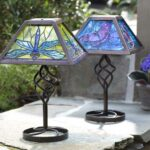 tiffany style stained glass solar outdoor table accent lamp wind small industrial coffee umbrella tall side with drawers oval garden furniture covers chairs edmonton west elm 150x150