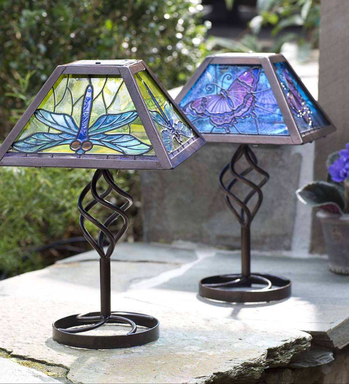 tiffany style stained glass solar outdoor table accent lamp wind small industrial coffee umbrella tall side with drawers oval garden furniture covers chairs edmonton west elm