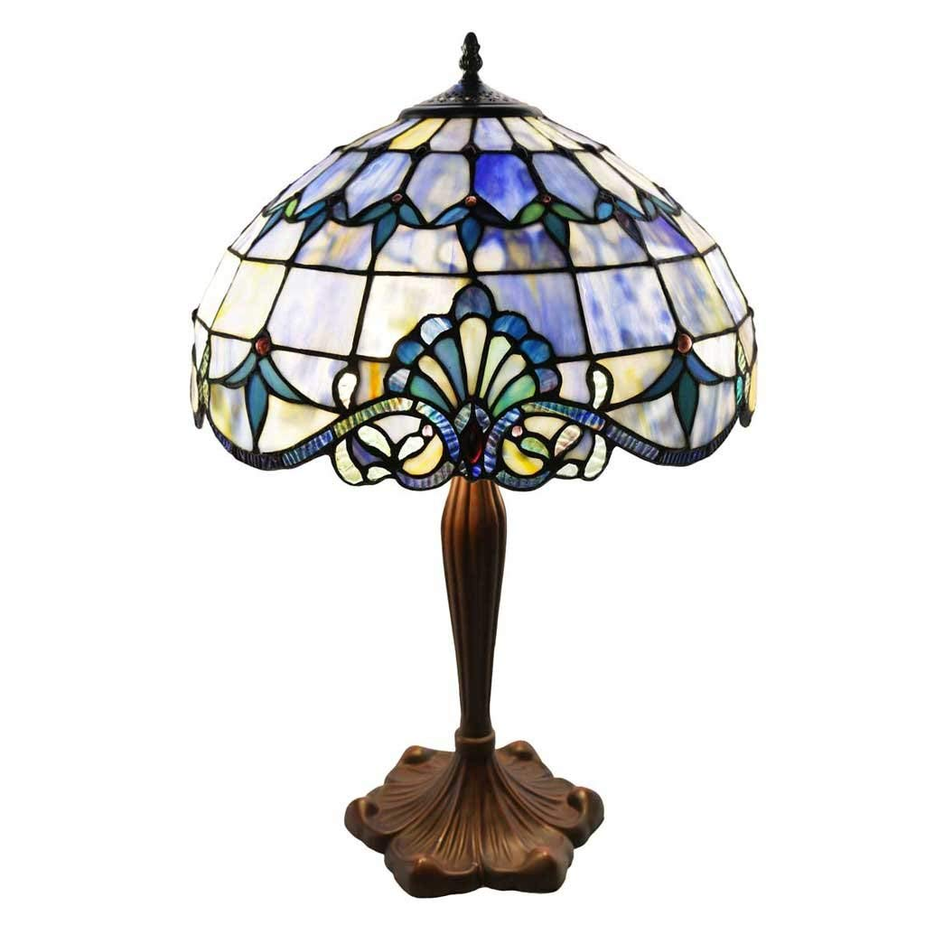 tiffany style stained glass table lamp inch accent lamps victorian colorful allistar with vintage bronze base and sea shell shade high end nautical ture frames antique side tables