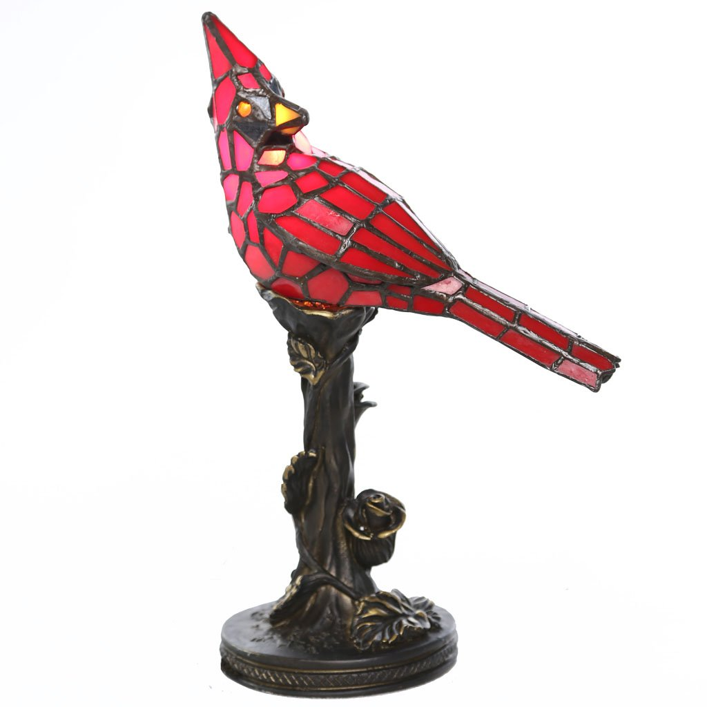 tiffany style stained glass table lamp inch red cardinal arnfwzl victorian accent with vintage bird and bronze floral tree base high end round plastic tablecloths small furniture