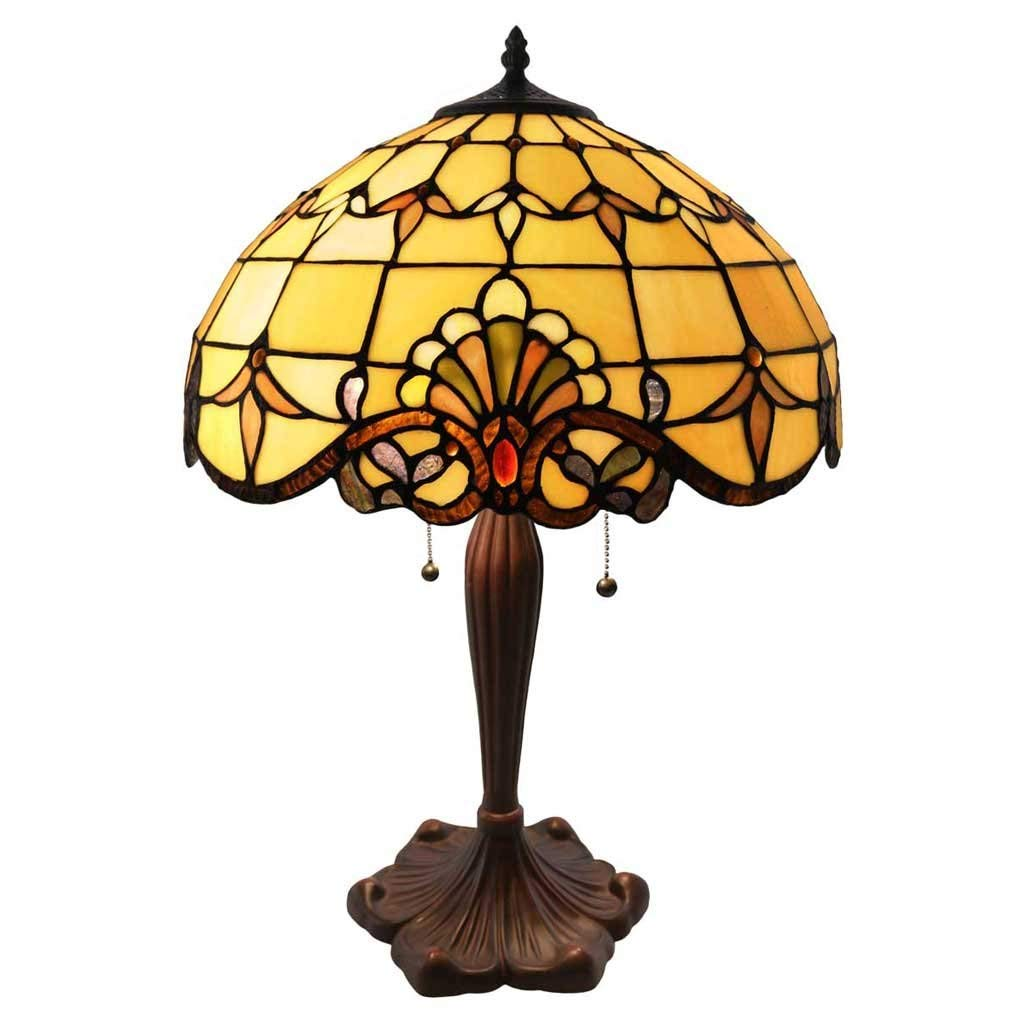 tiffany style stained glass table lamp inch victorian accent colorful allistar with vintage bronze base and sea shell shade high end outdoor bar cover console round top espresso