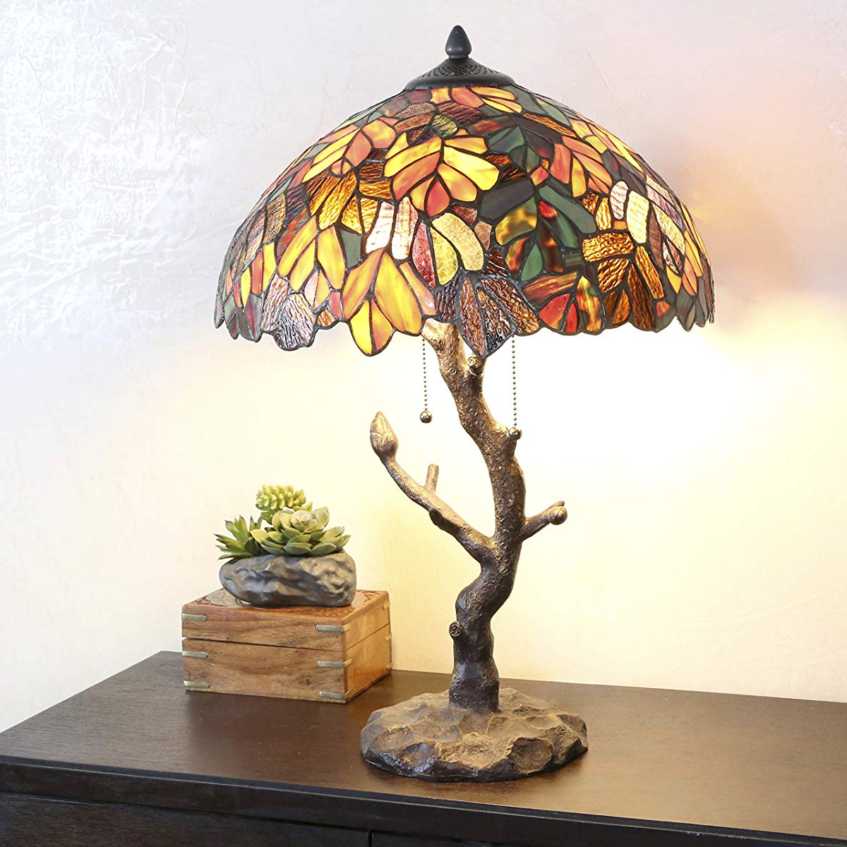 tiffany style stained glass table lamp inch victorian decorative accent lamps colorful maple leaf with wrought iron patio ashley furniture chairs nautical swag light pottery barn