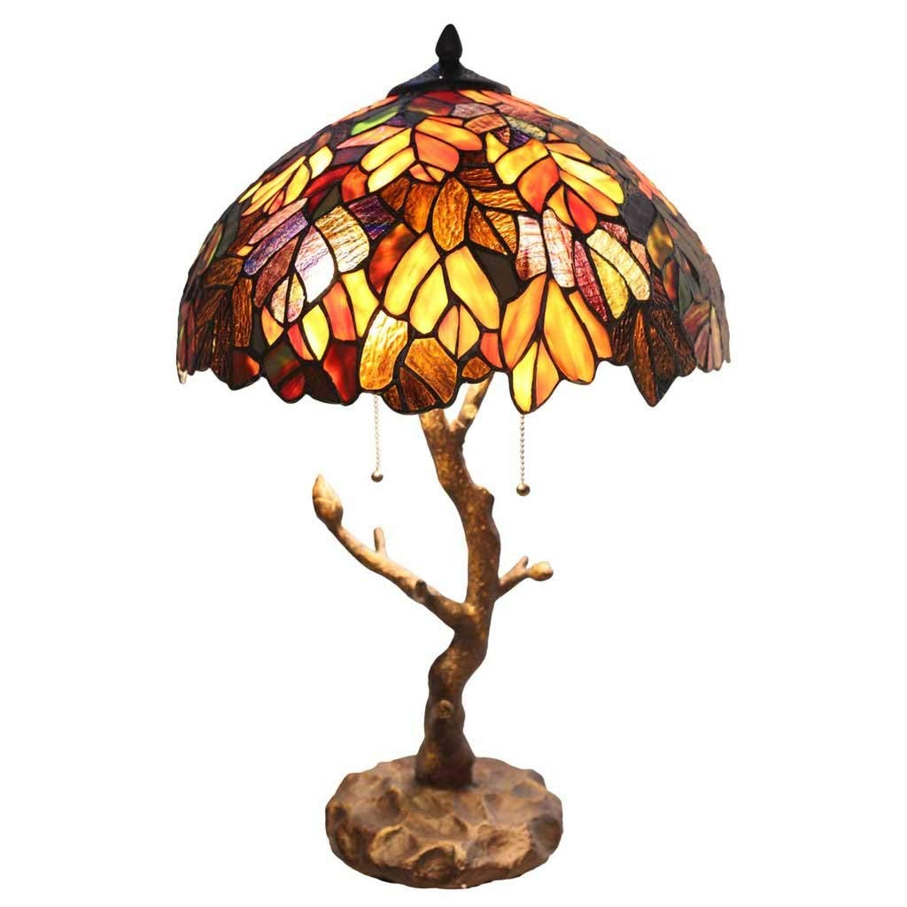 tiffany style stained glass table lamp inch victorian mini accent lamps colorful maple leaf with vintage bronze tree trunk base high end homesense tables wine cupboard oval