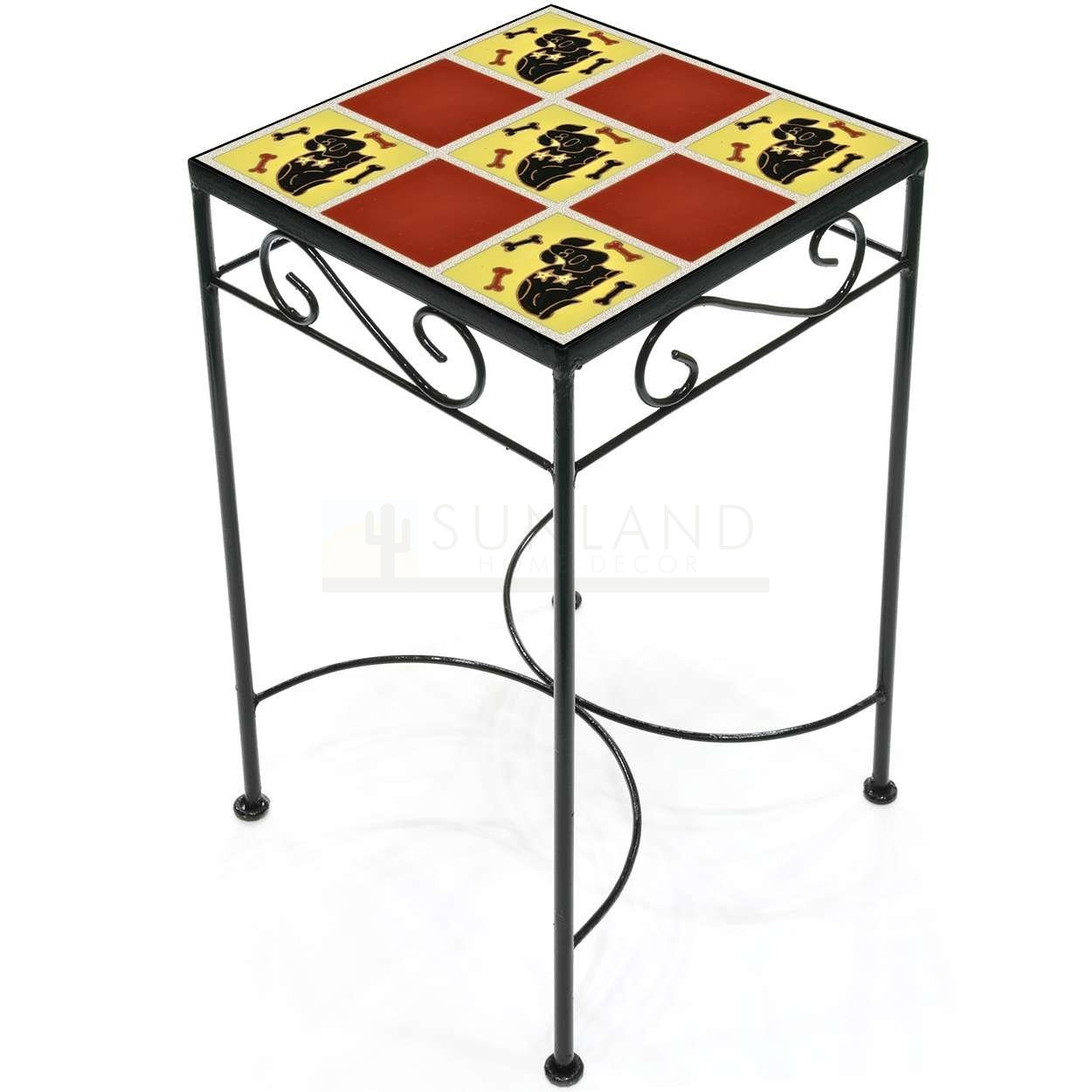 tile accent table dog and bones red outdoor square tall metal umbrella stand with wheels battery powered dining lamp marble side round silver coffee tray ethan allen vintage