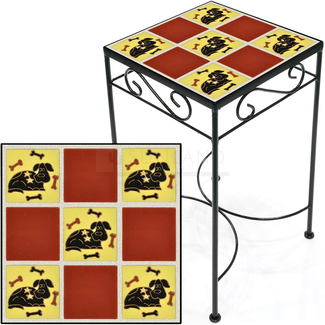 tile accent table dog and bones red square save tall metal sea themed lamps marble wood side usb lamp outdoor umbrella silver tray replica furniture coffee farm trestle dining top