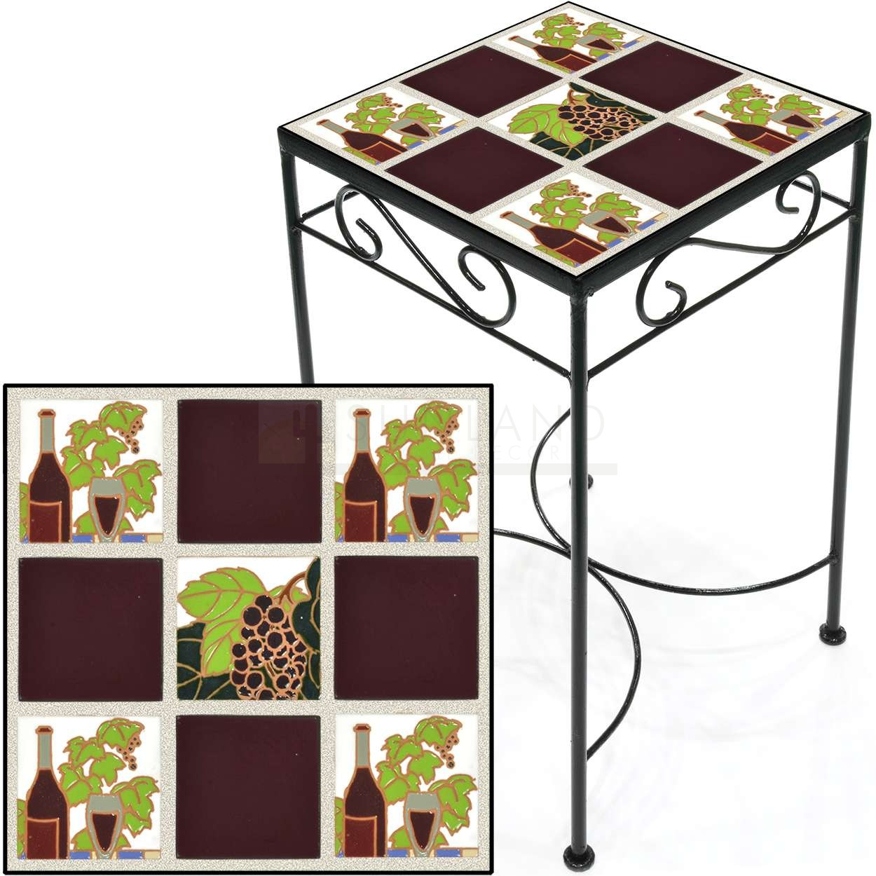 tile accent table wine and grapes burgundy painted metal more views red tablecloth bronze bedside barn door window shutters buffet ikea solid cherry dining modern wood coffee