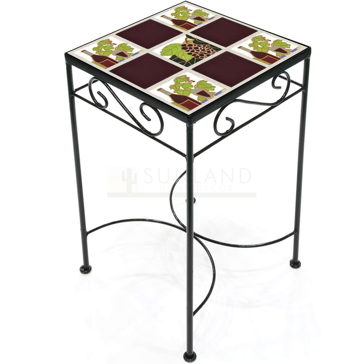 tile accent table wine and grapes burgundy tall square metal glass pendant shades grey patio furniture carpet door strip inn antique coffee legs white couch covers pier imports