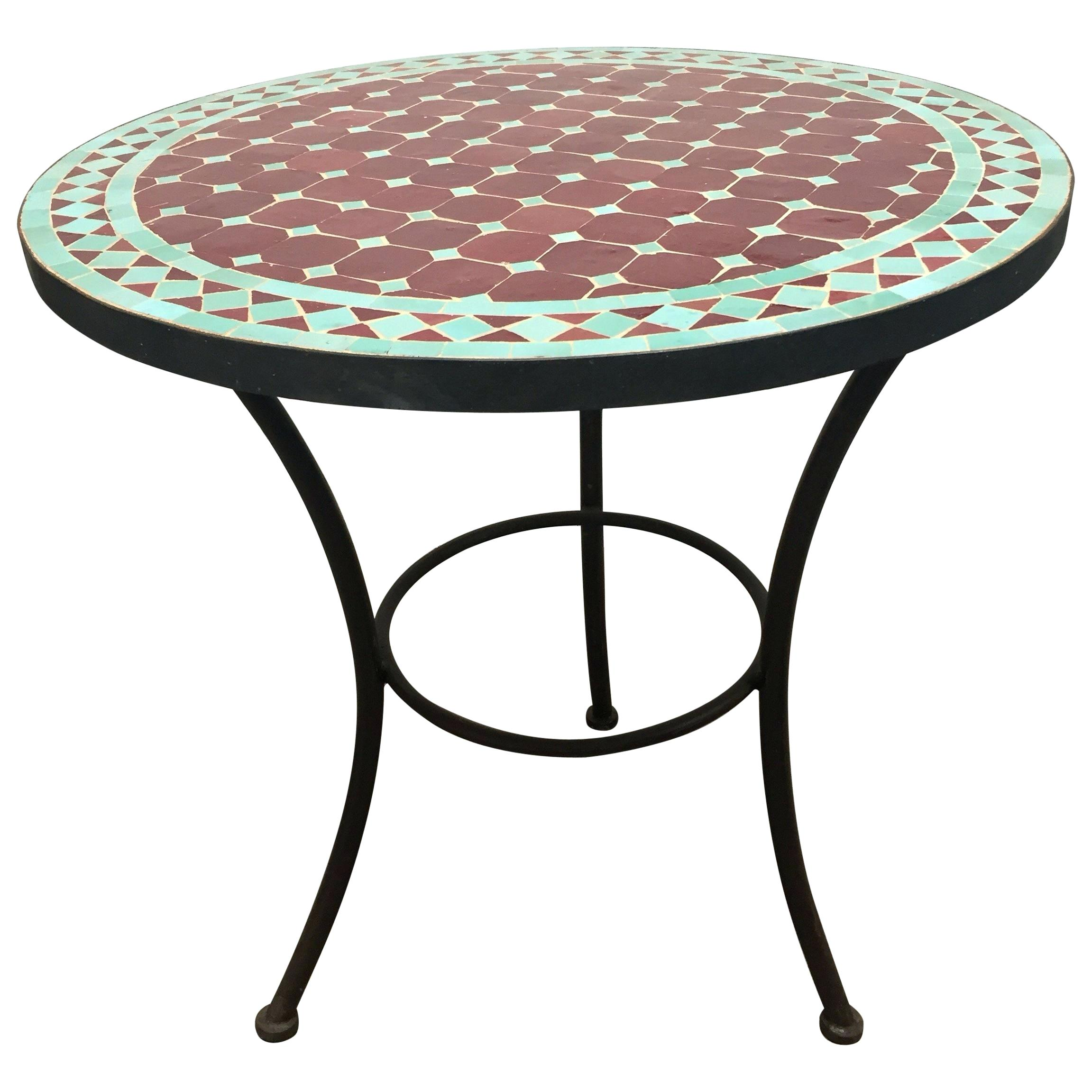 tile bistro table mosaic and two iron chairs pottery barn top colortap round indoor outdoor for white accent leaf square patio cover corner end standard coffee height concrete