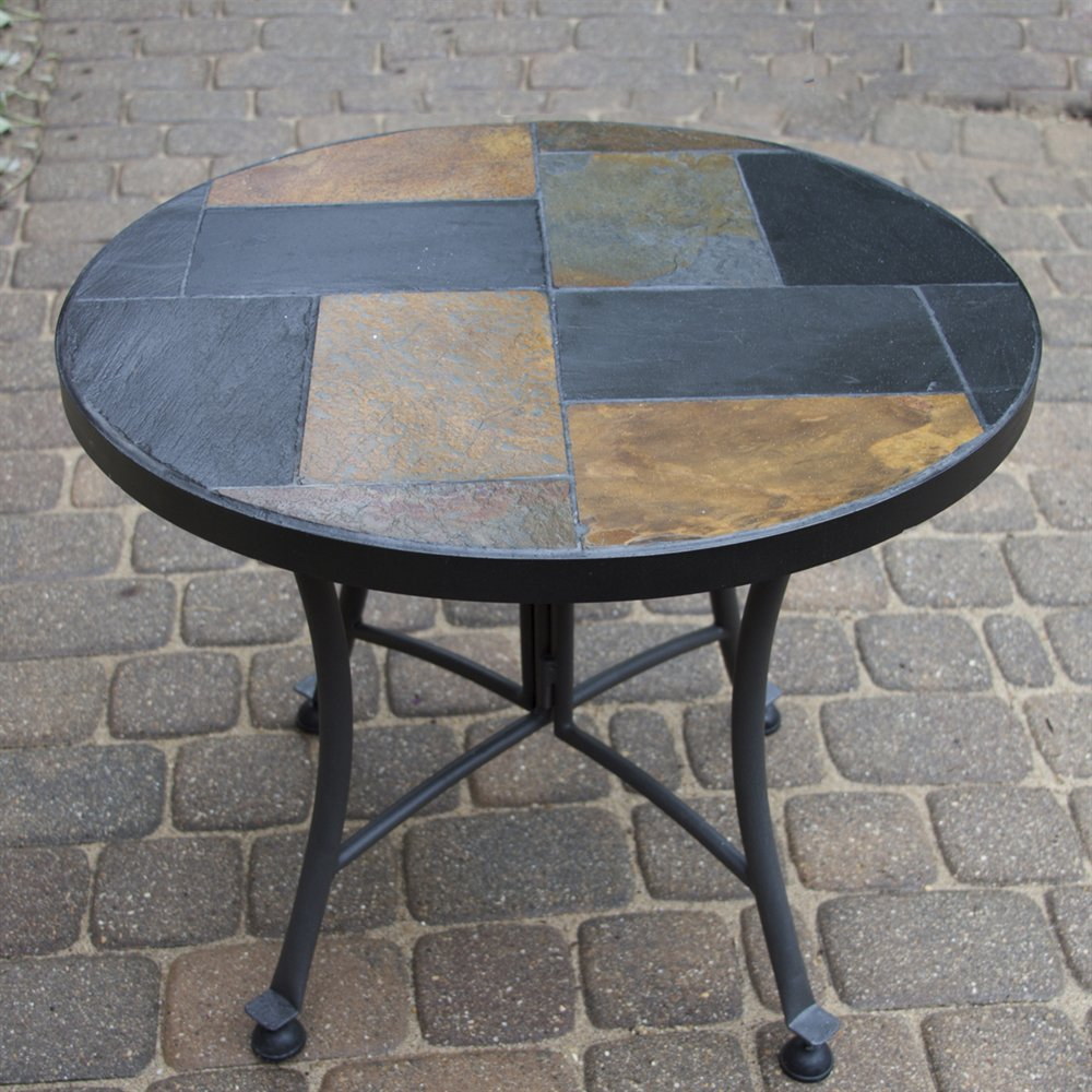 tile mosaic accent tables tops slate table zaltana outdoor interiors stone and the hardwoods affordable patio furniture large umbrellas mid century modern console half moon with