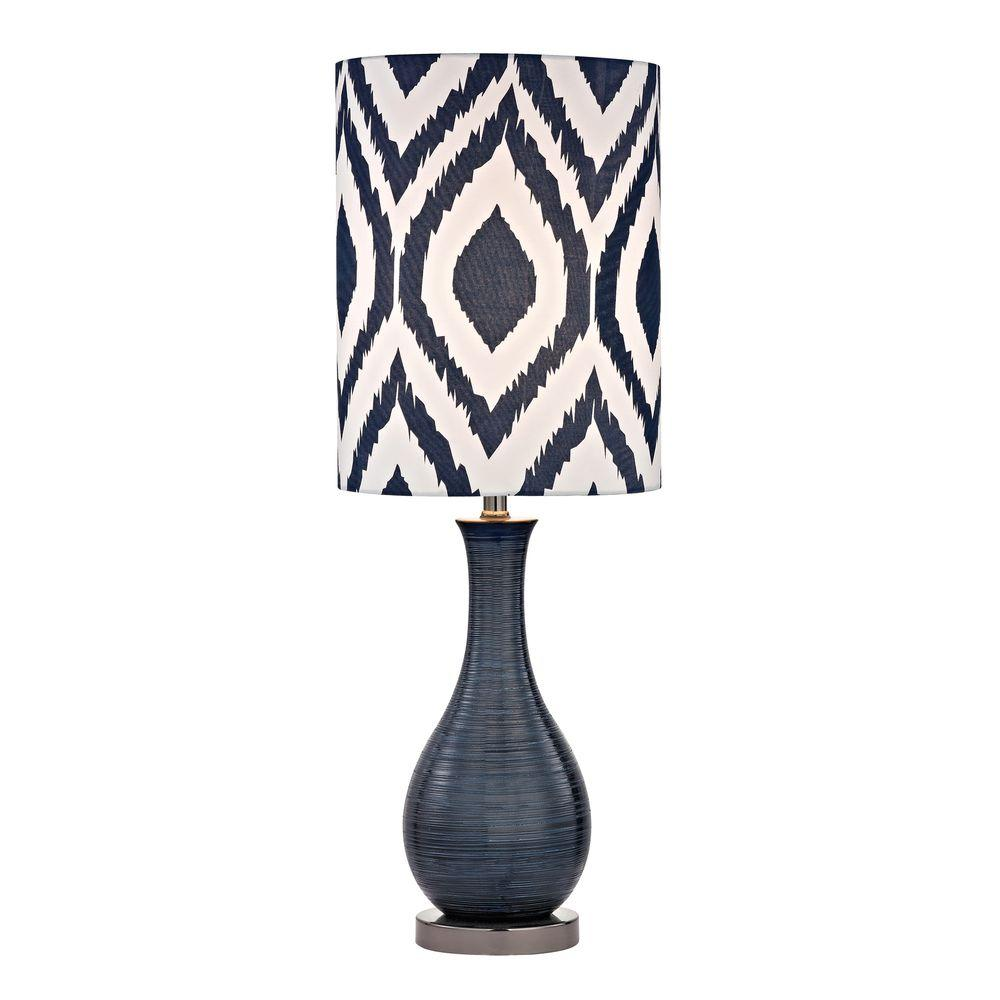 titan lighting navy blue textured ceramic accent lamp with black nickel table lamps printed shade storage chest drawers round furniture legs pottery barn end pier one wicker chair