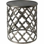 tiziana charcoal transitional inch metal accent table eyelet free shipping today patio beer cooler red tables decor glass knobs kitchen dining room black and chrome side pottery 150x150