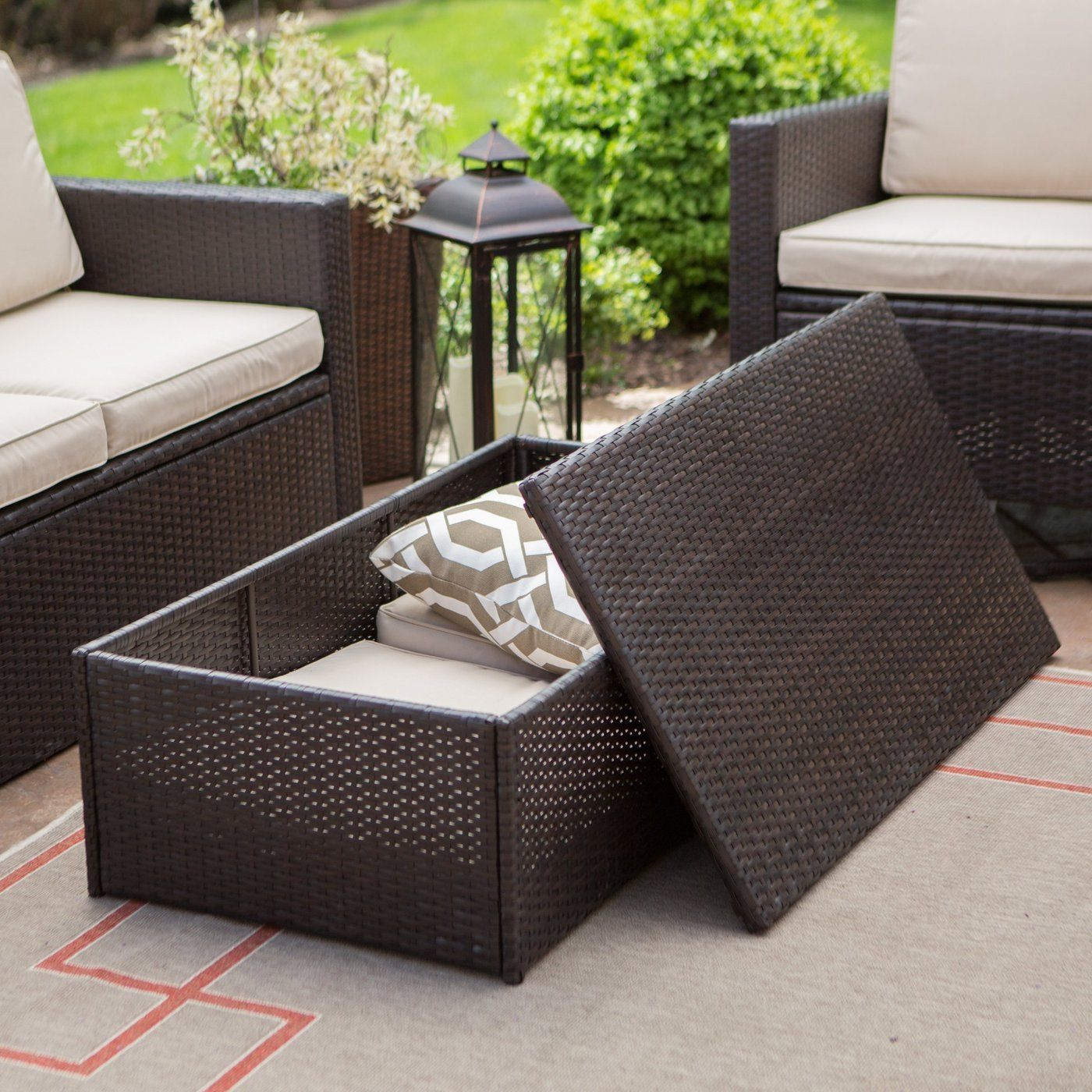 tkc laguna outdoor wicker storage coffee table caramel patio rattan side end cube furniture ashley console quirky bedside tables hairpin legs with basket drawers brown leather
