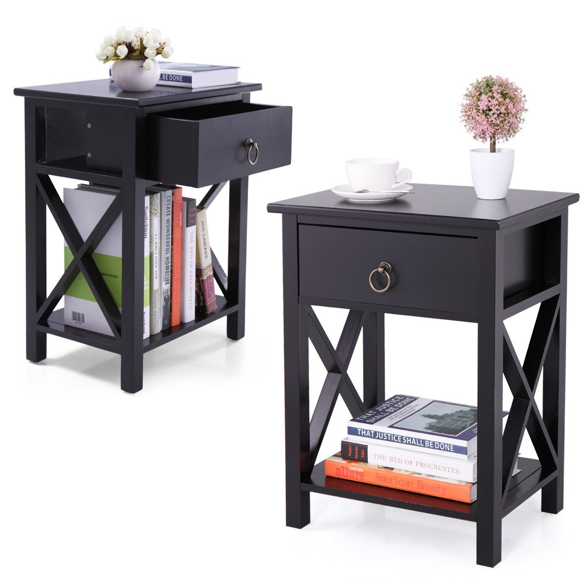 tobbi nightstand mdf end side table drawer storage winsome ava accent with black finish bedroom furniture set kitchen dining sofa small asian lamps tiffany style hanging lamp