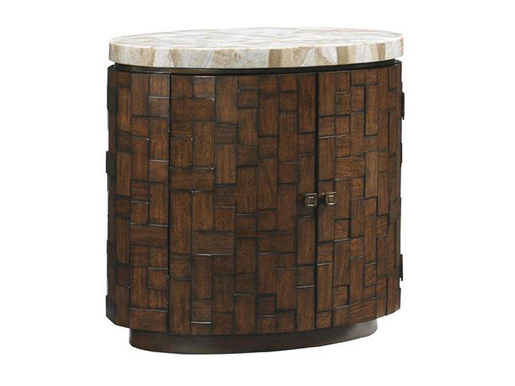 tommy bahama home island fusion banyan oval accent table with stone products color tan threshold fusionbanyan acrylic nesting coffee central steel end tripod lamp pottery barn