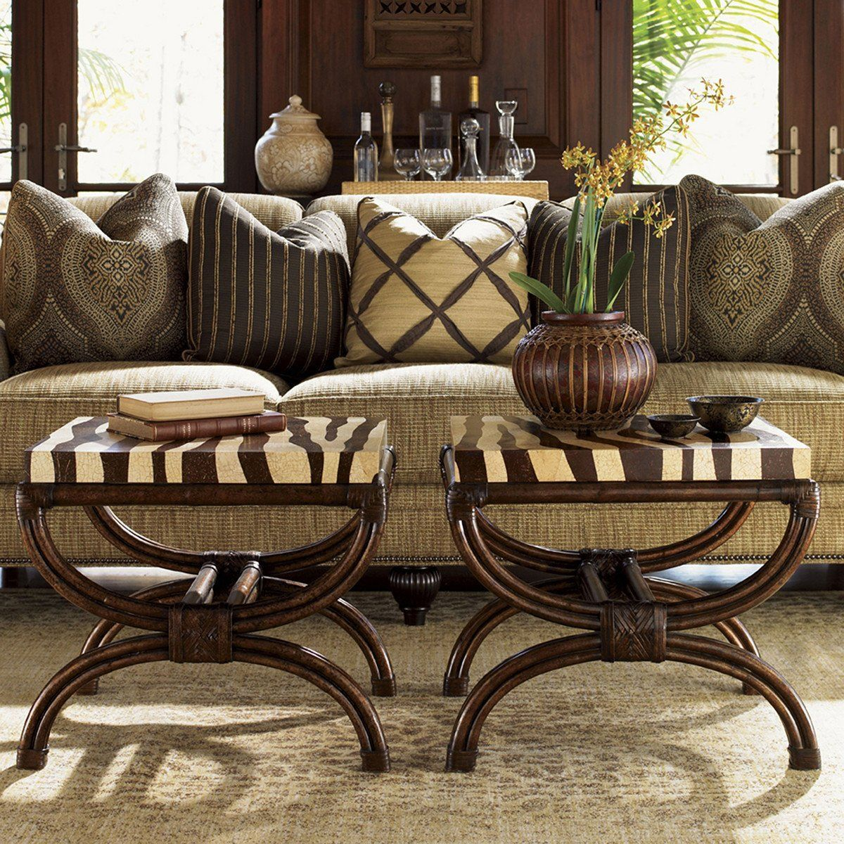 tommy bahama royal kahala striped delight accent table zebra borrowing from asian pacific theme the home introduces charming touch casual room modern interior design ideas hampton