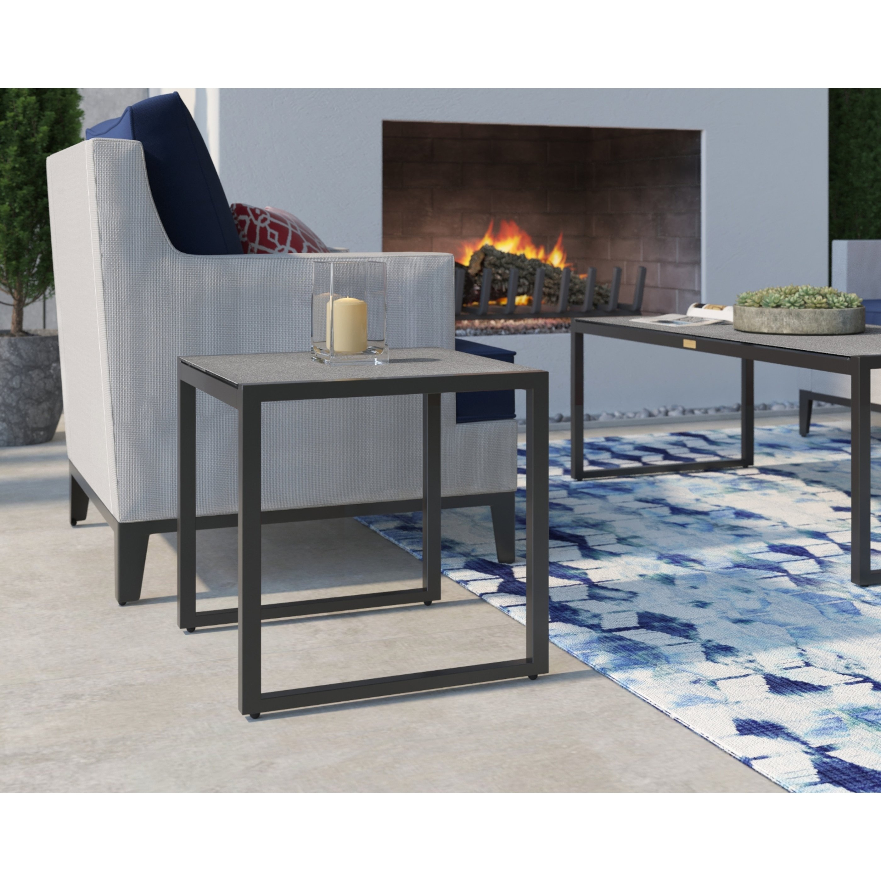 tommy hilfiger hampton outdoor side table with pebbled glass natural gray and chairs free shipping today folding patio round oak coffee small dining leaf egg chair bunnings