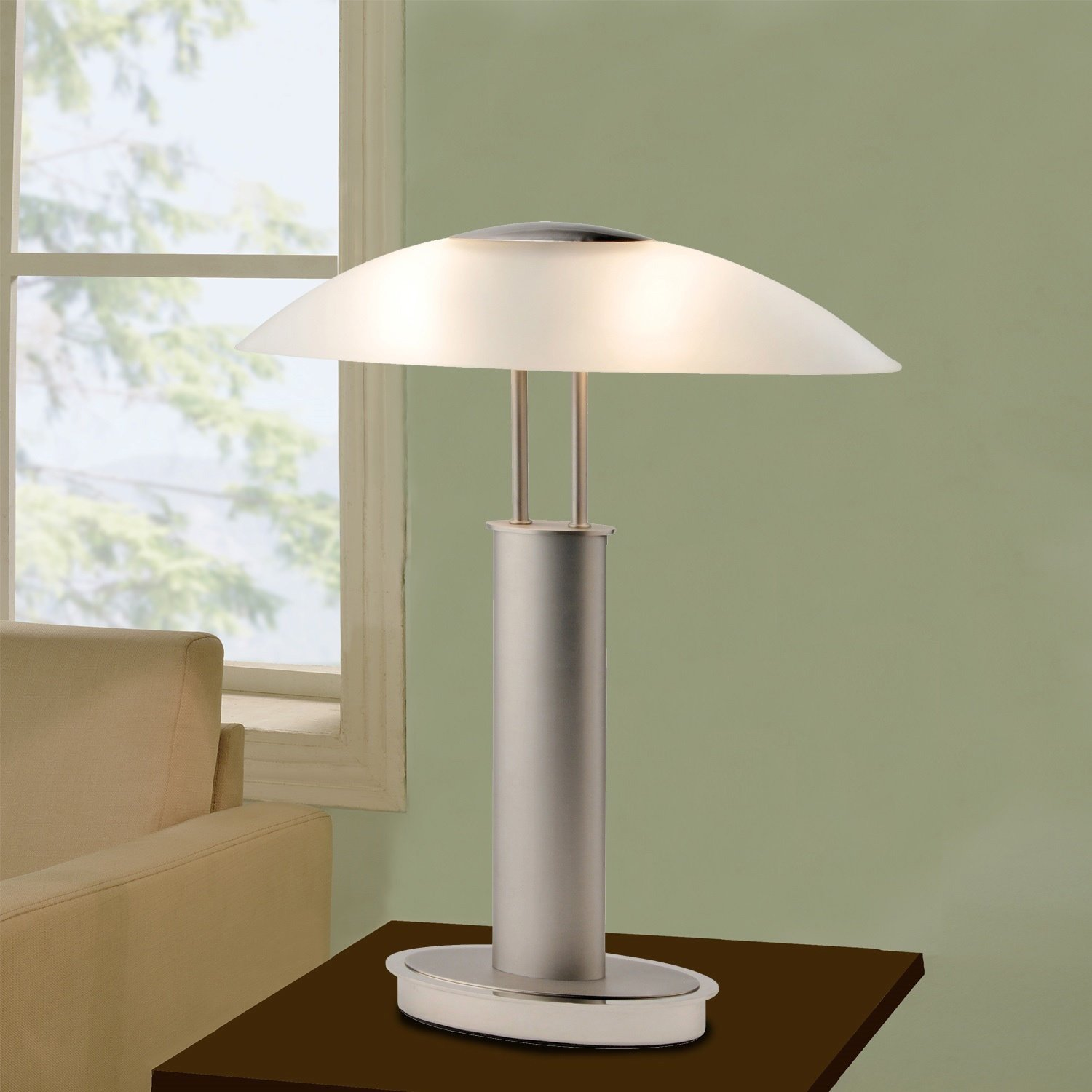 tone satin nickel led touch table lamp with oval canoe and artiva usa avalon plus modern frosted glass shade switch cylinder accent free shipping today metal mirror nautical