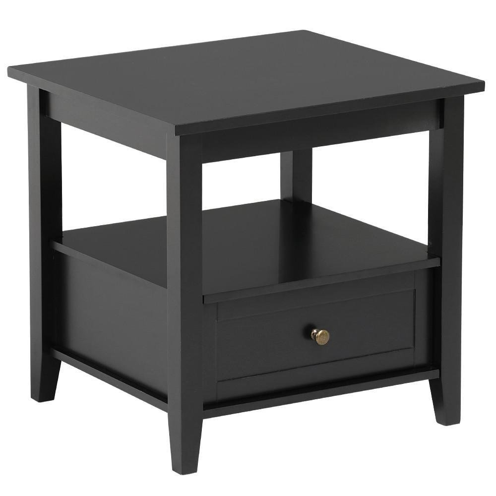 topeakmart black end table with bottom drawer and open ncxil lacquer accent storage shelf for living room sofa side kitchen dining tablecloths placemats coffee ideas grohe