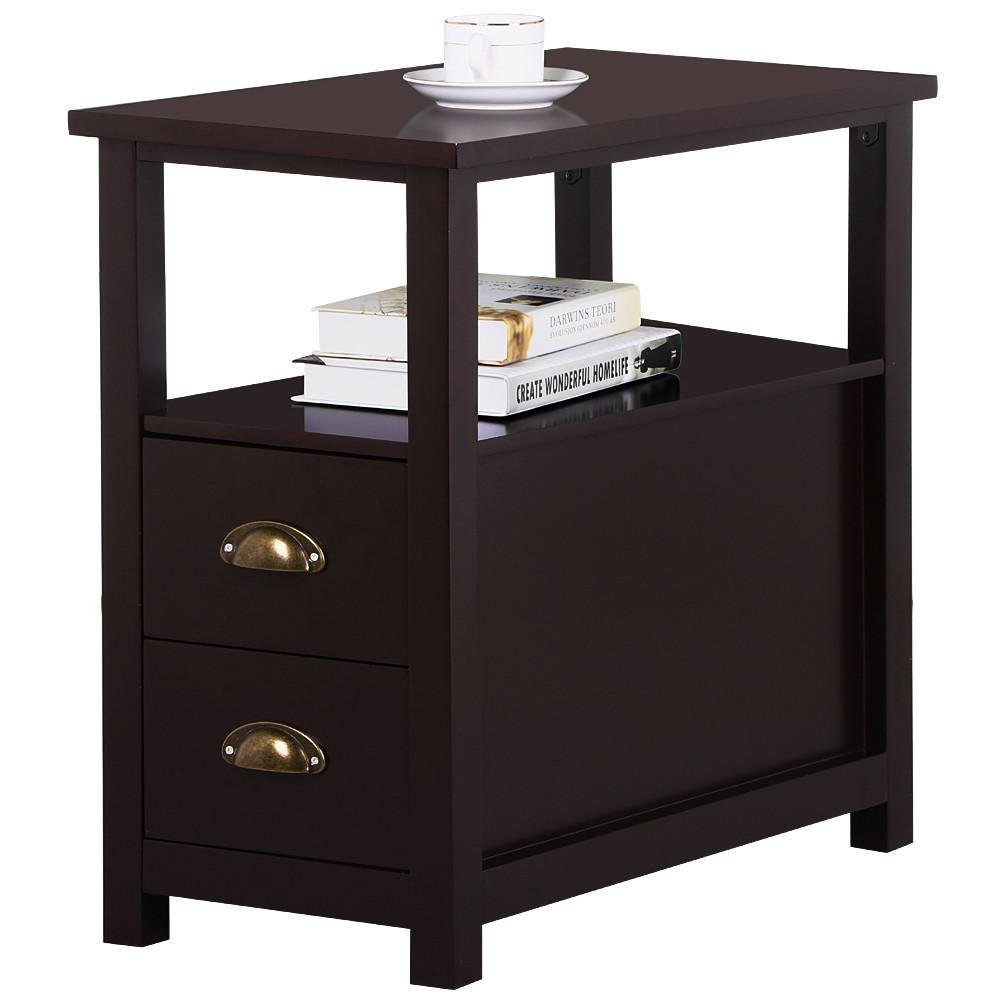 topeakmart chairside table with drawer and open uwl timmy nightstand accent black storage shelf narrow for living room espresso rustic home kitchen white solid wood end tables