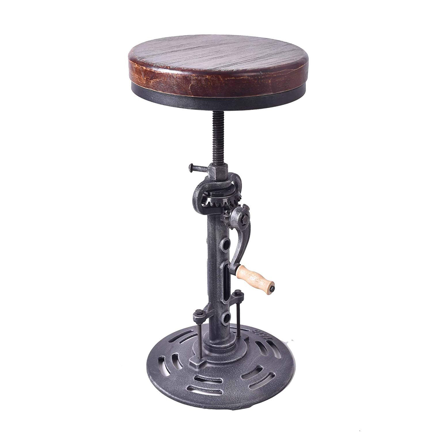 topower american antique industrial diy crank stool cast adjustable height accent table iron base bar design metal chair wood kitchen white farmhouse dining small black nest