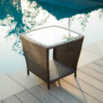 tortuga outdoor portside wicker side table narrow accent easton brown great target unfinished wood coffee yellow and grey chair west elm desk patio buffet triangle ikea with 150x150