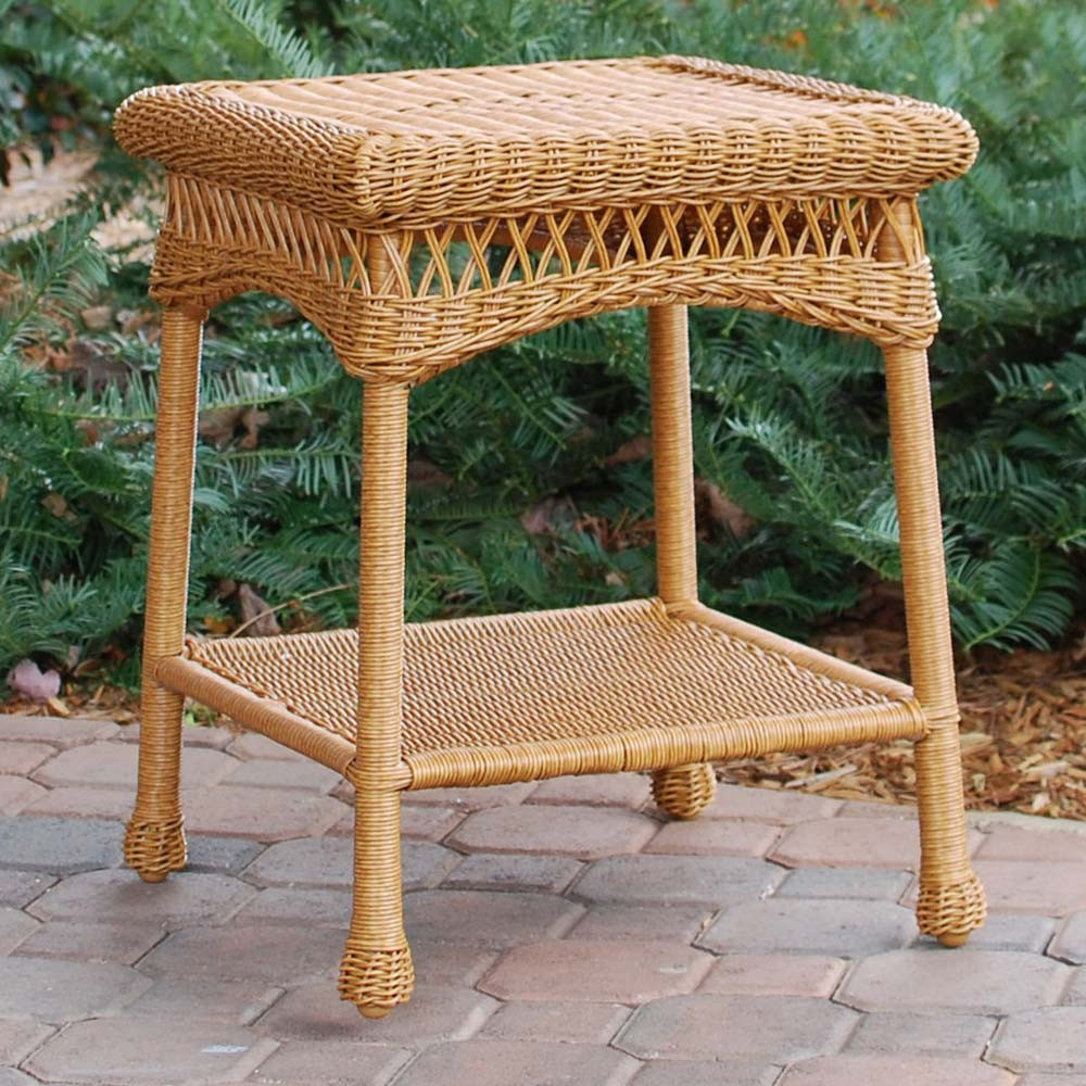 tortuga outdoor portside wicker side table sidetable southwestamber brown teak furniture vancouver dale tiffany dragonfly lily lamp patio umbrella with base included monitor stand