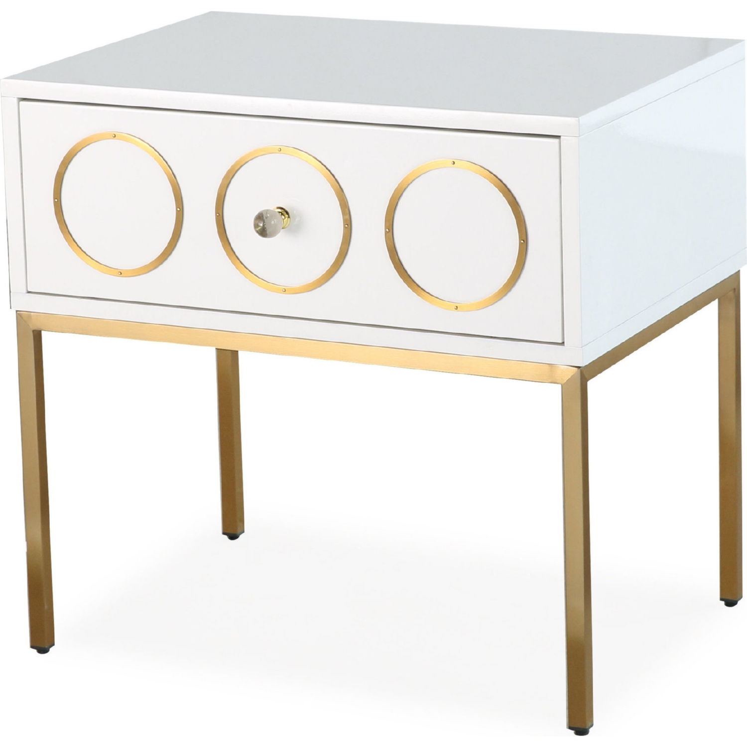 tov furniture ella side table white lacquer brushed accent gold base accents bbq prep extra wide console lamp lamps with usb ports and marble top corner living room pottery barn
