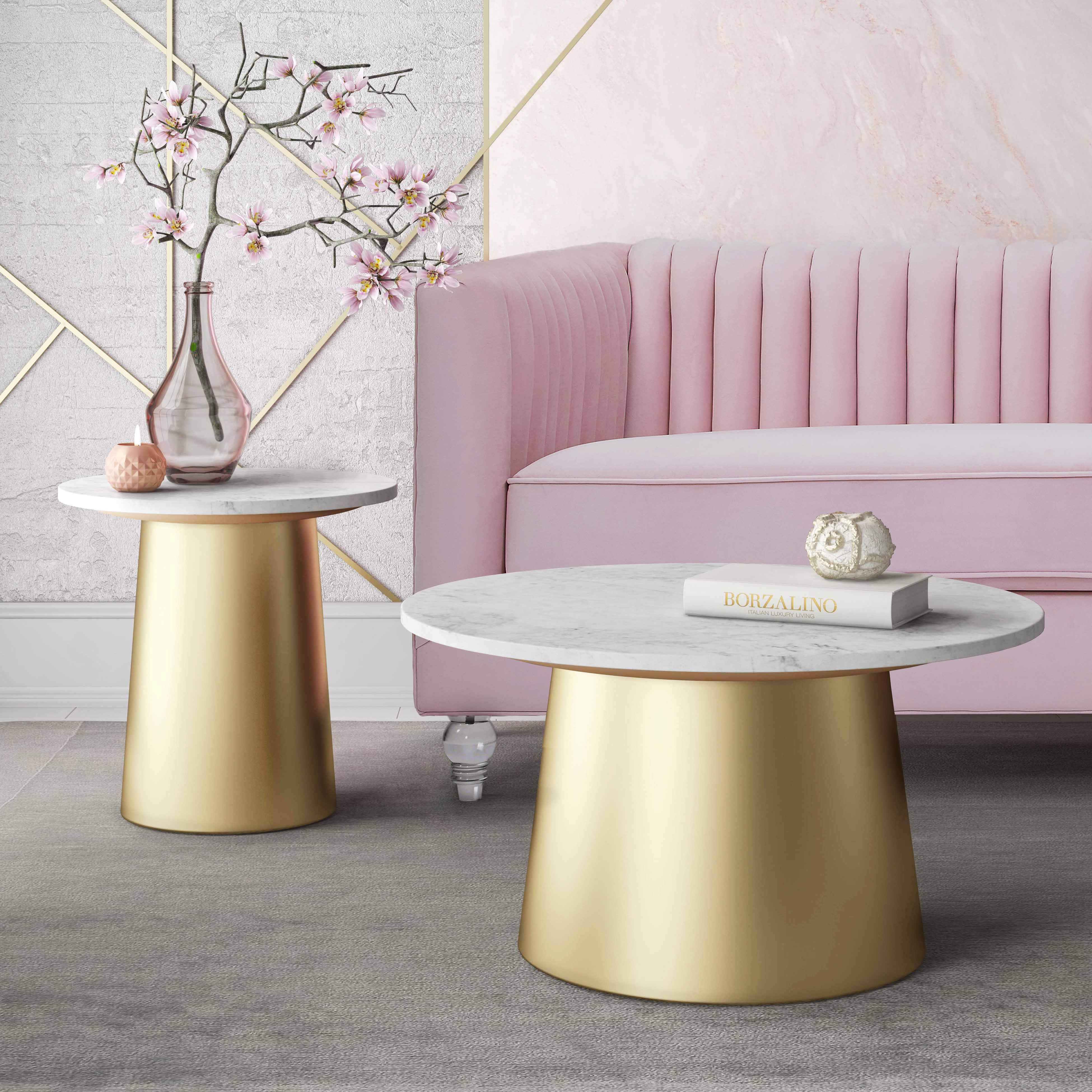 tov furniture occasional tables media pink marble accent table bleeker side turquoise half moon mirrored light shower head outdoor protector chest solid cherry wood coffee sofa