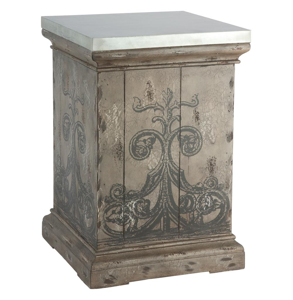 tracery french country antique hand painted end table navy blue accent tables gray target wire side elm mini patio umbrella square furniture covers round wood kitchen knotty pine