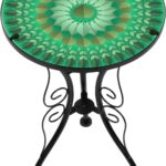 trademark innovations leaf design glass metal side bella green mosaic outdoor accent table from the manufacturer unique coffee tables and end door threshold round plastic inch 150x150