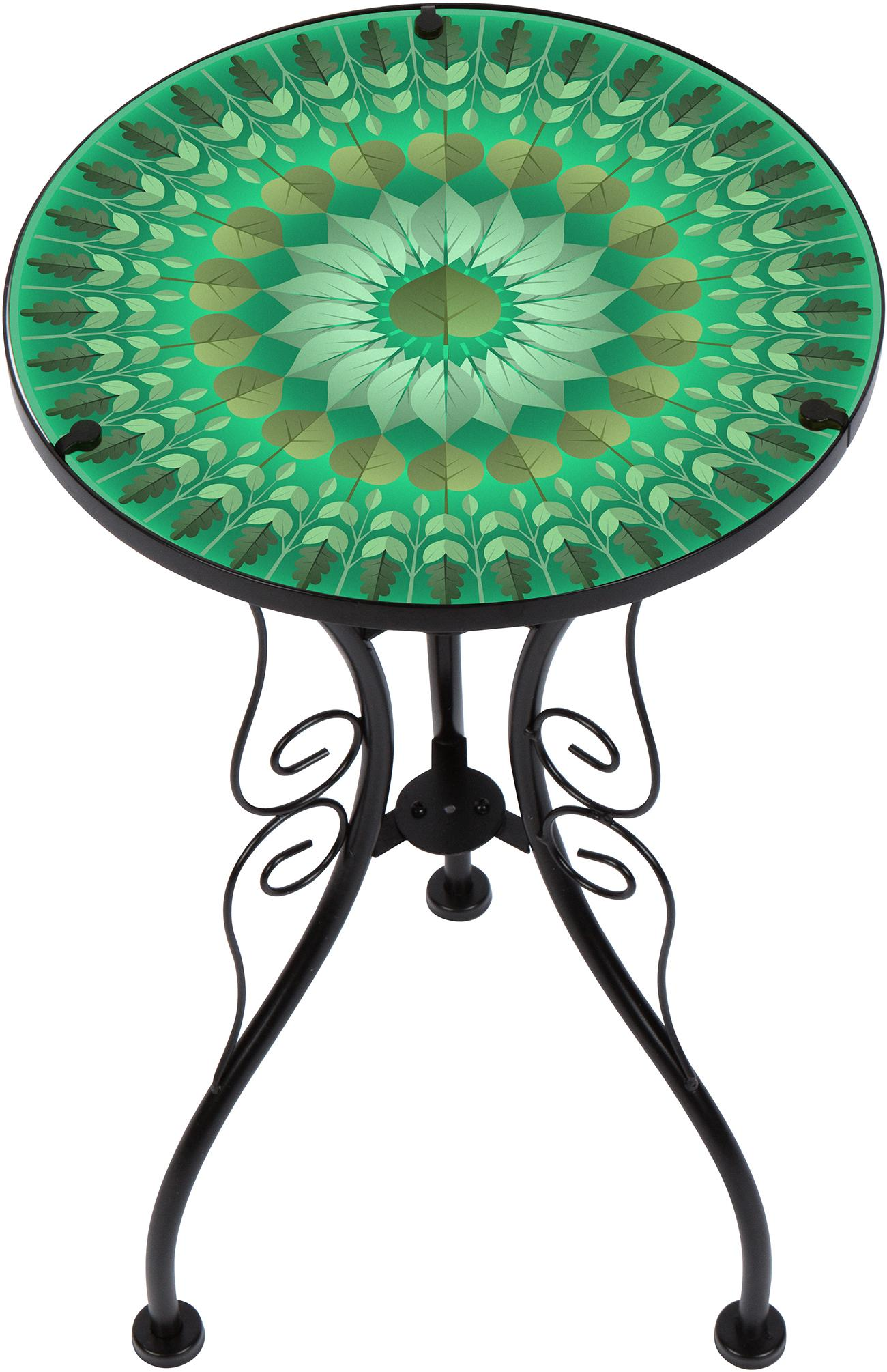 trademark innovations leaf design glass metal side bella green mosaic outdoor accent table from the manufacturer unique coffee tables and end door threshold round plastic inch