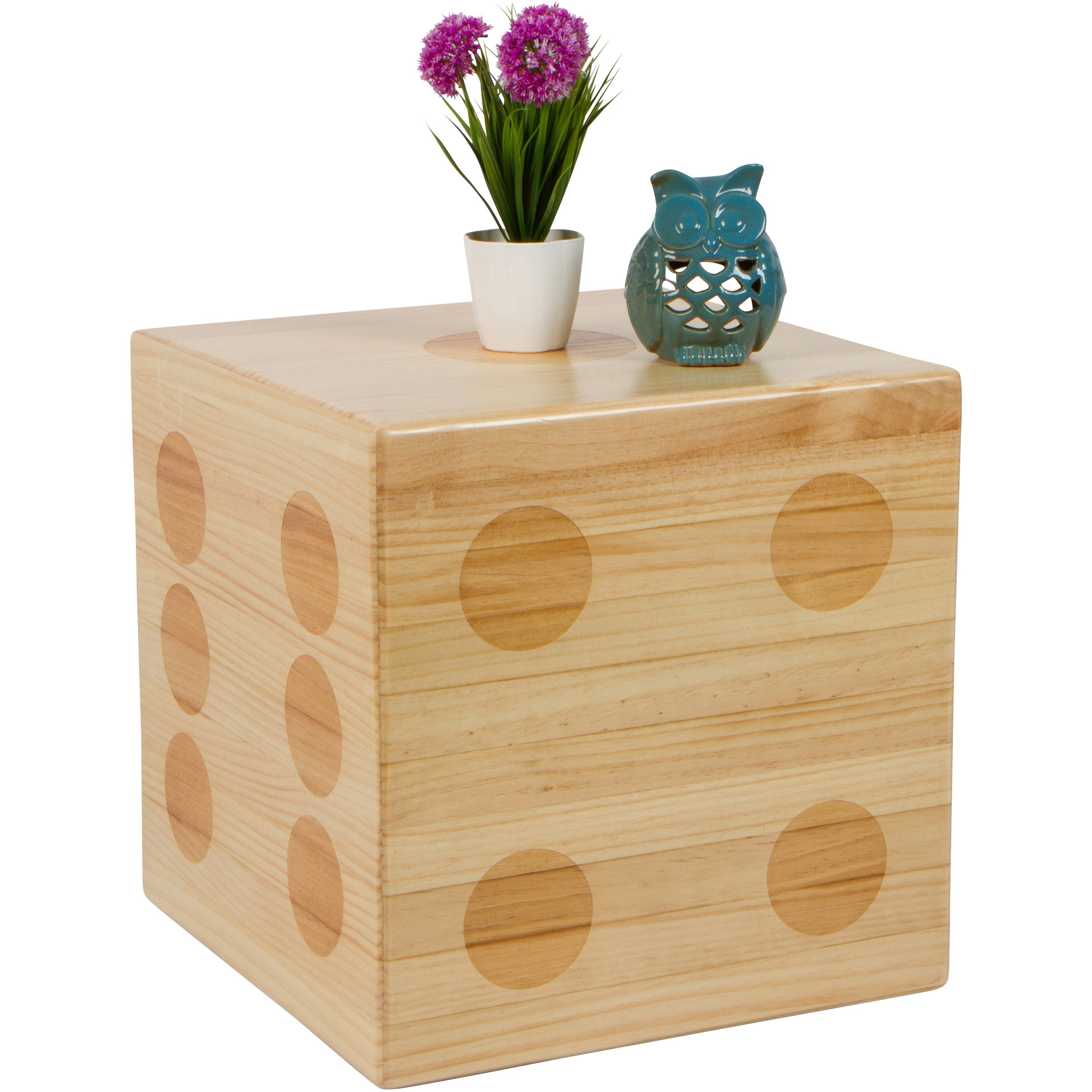 trademark innovations pine wood square inch dice accent table and footstool uttermost free shipping today cut crystal lamp single wine rack modern sofa side dorm room ping pottery