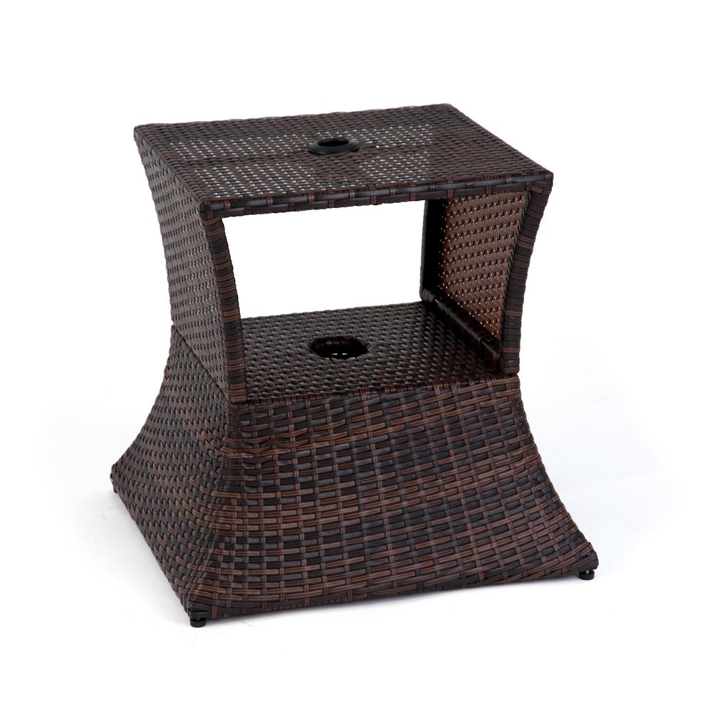 trademark innovations square rattan patio umbrella stand brown stands tbleumb rat outdoor side table solid wood round end childrens and chairs kmart large home goods furniture