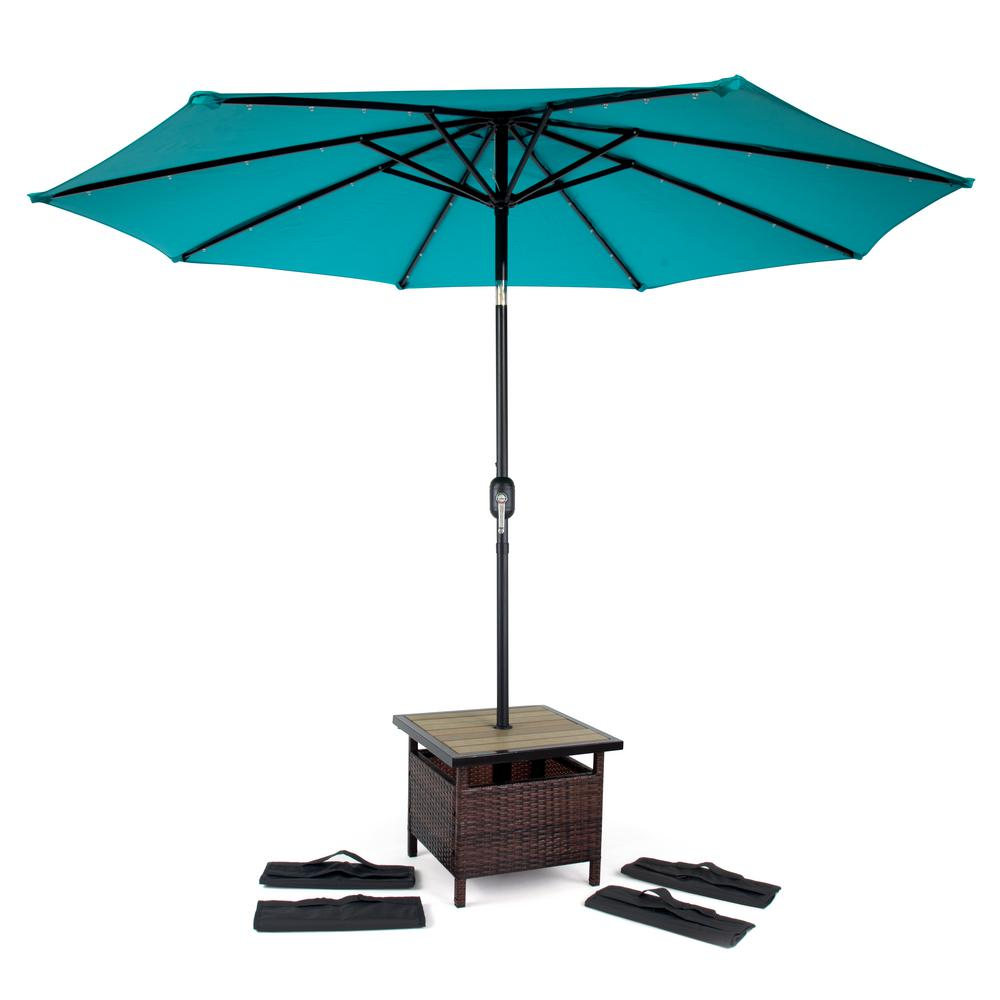 trademark innovations square rattan patio umbrella stand brown stands tbleumb snd outdoor side table and metal threshold cover bar small concrete inch wide tablecloths umbrellas