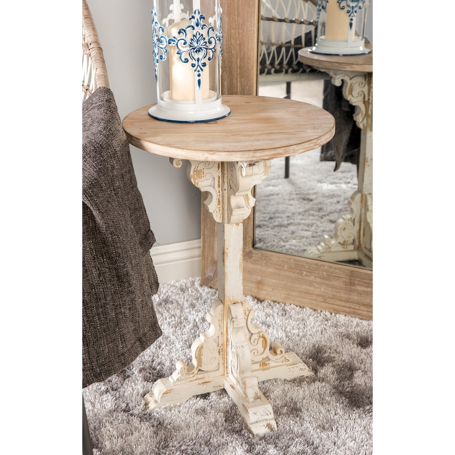 traditional inch round wood accent table distressed white studio free shipping today vintage nightstands outdoor wicker gold and marble coffee home hardware furniture coca cola
