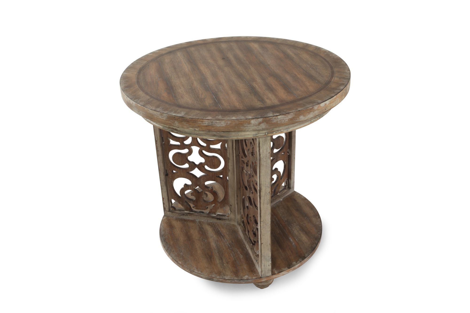 traditional scroll round accent table brown mathis brothers hook iron and chairs shallow cabinet modern wood coffee runner bar style black pipe nesting set plexiglass home