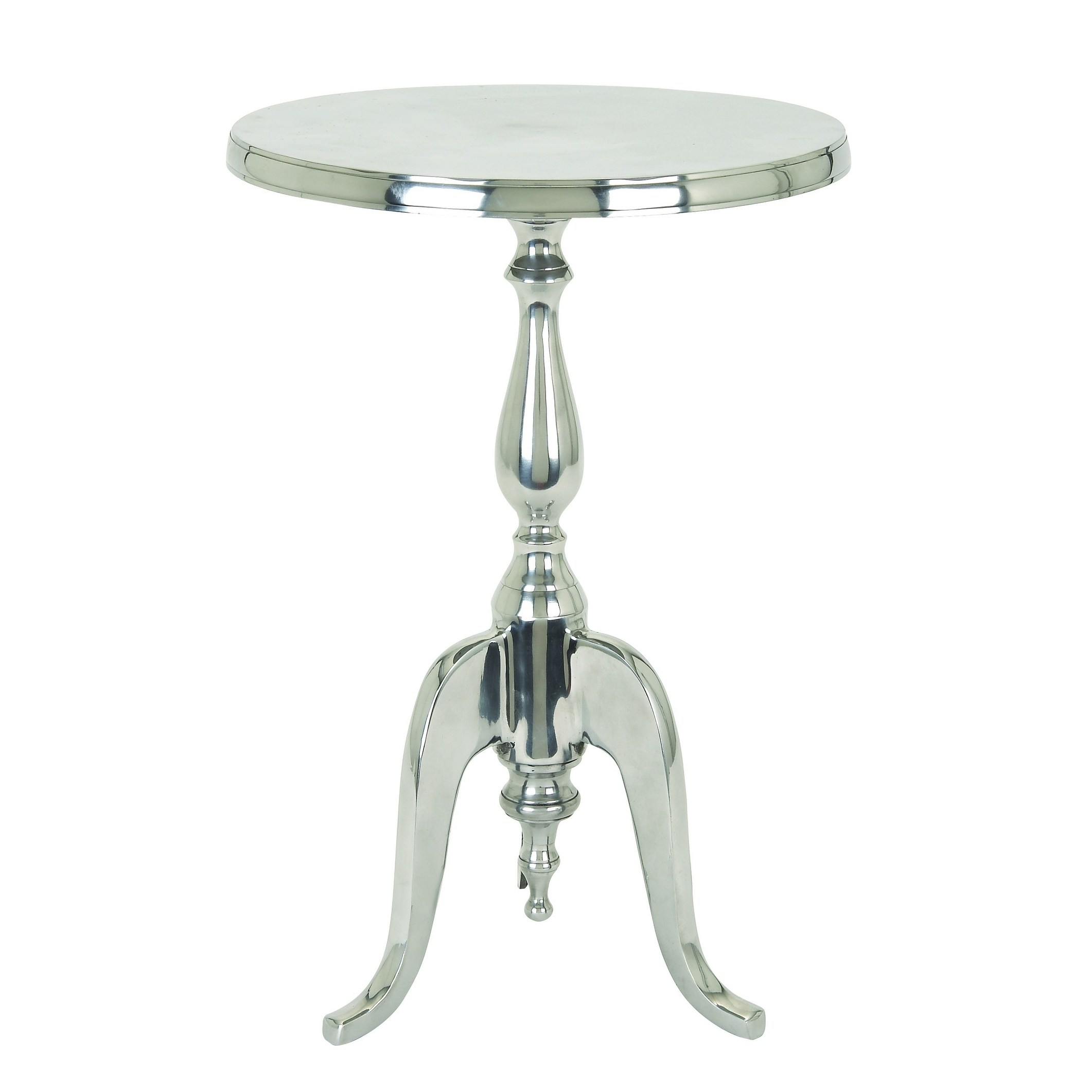 traditional style aluminum accent table with pedestal base silver free shipping today ikea chest drawers glass top patio end tables unique desk lamps outdoor side clearance small