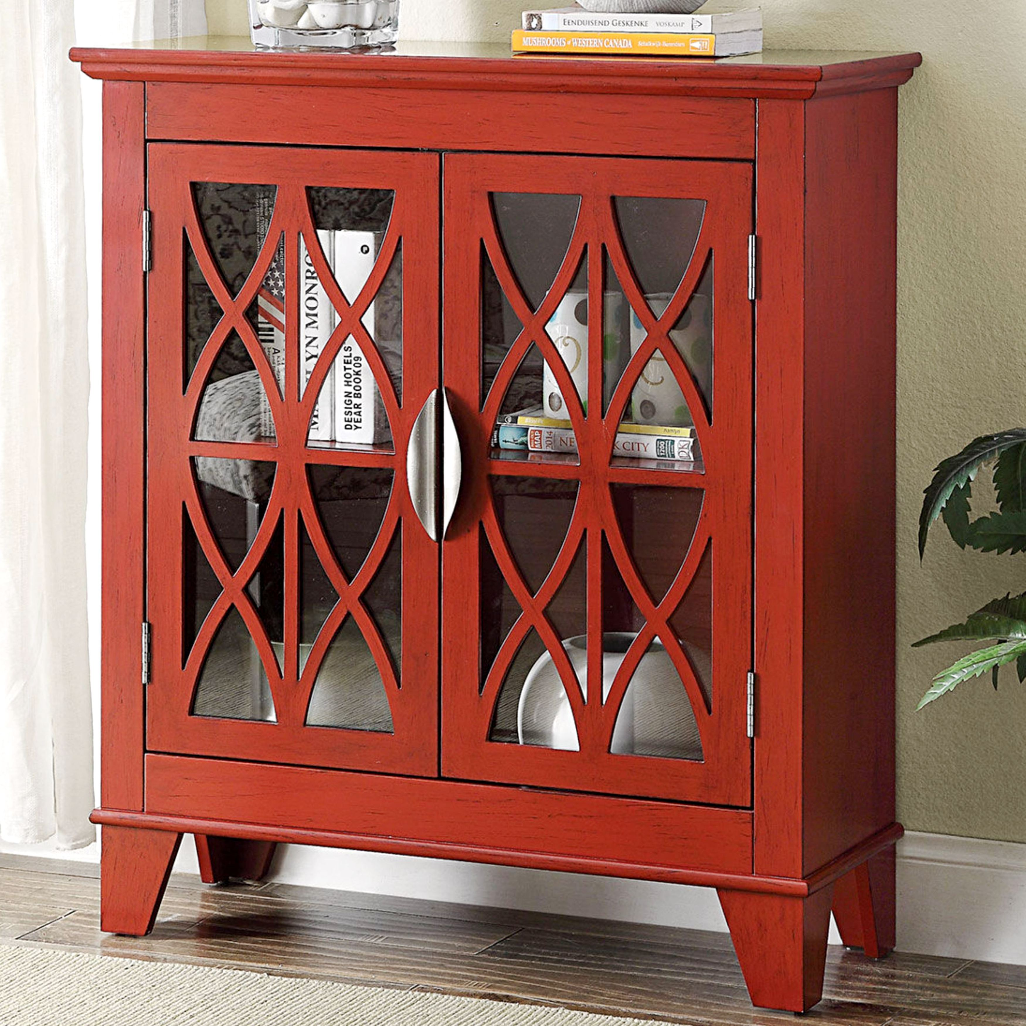 transitional design red accent cabinet with decorative glass doors table free shipping today best drum seat desk drawers cabinets for living room small bedside lamps shaped