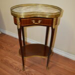 transitional period style kidney shape side table tab shaped accent lovely small and easy place made inlay wood adorned outside chairs kitchen sets with bench crystal droplet lamp 150x150