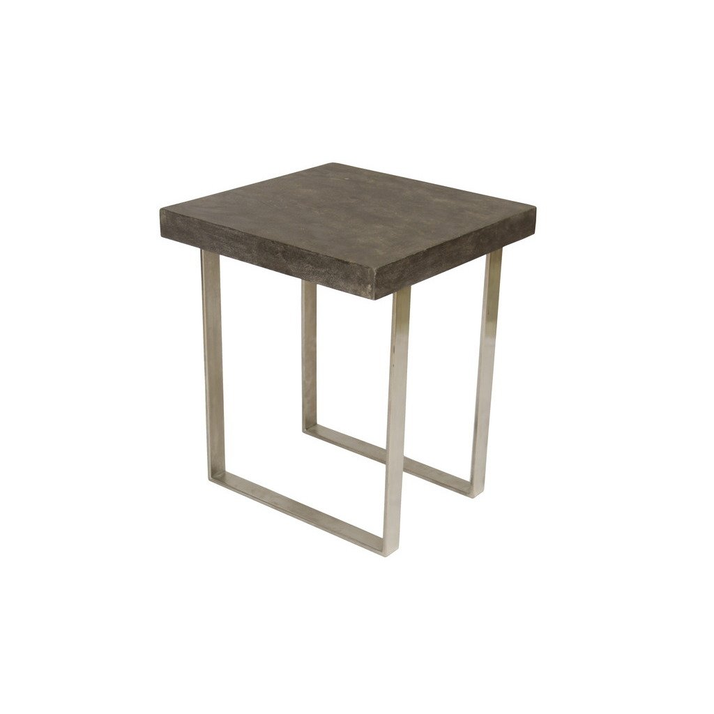 treasure trove accents concrete grey and nickel square end table accent free shipping today small decorative cloths carpet door threshold college room decor modern coffee round