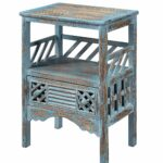 treasure trove accents drawer accent table bali blue distressed grey quatrefoil end with mirror rub through kitchen dining pier papasan chair bath and beyond registry small round 150x150