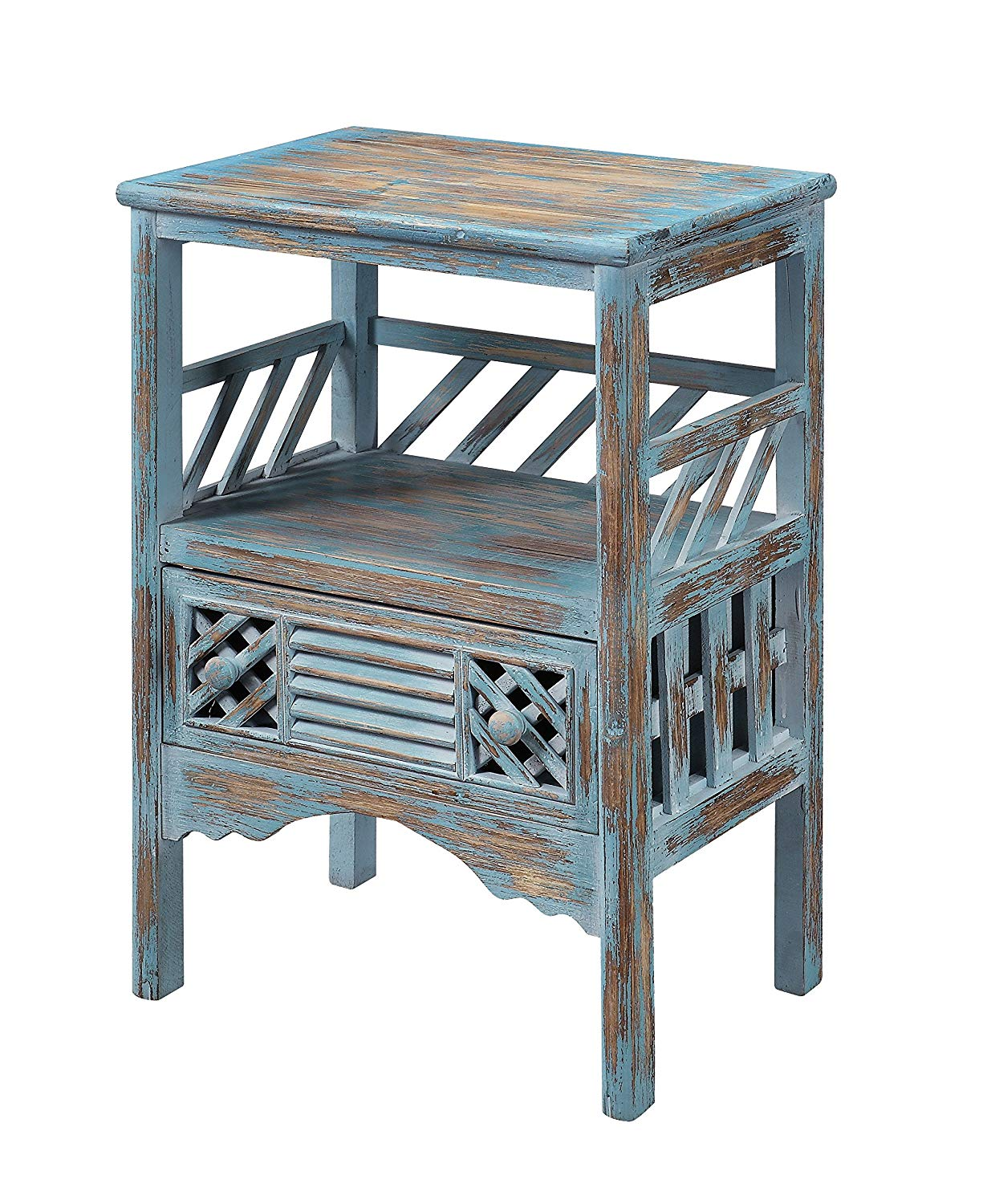 treasure trove accents drawer accent table bali blue distressed grey quatrefoil end with mirror rub through kitchen dining pier papasan chair bath and beyond registry small round