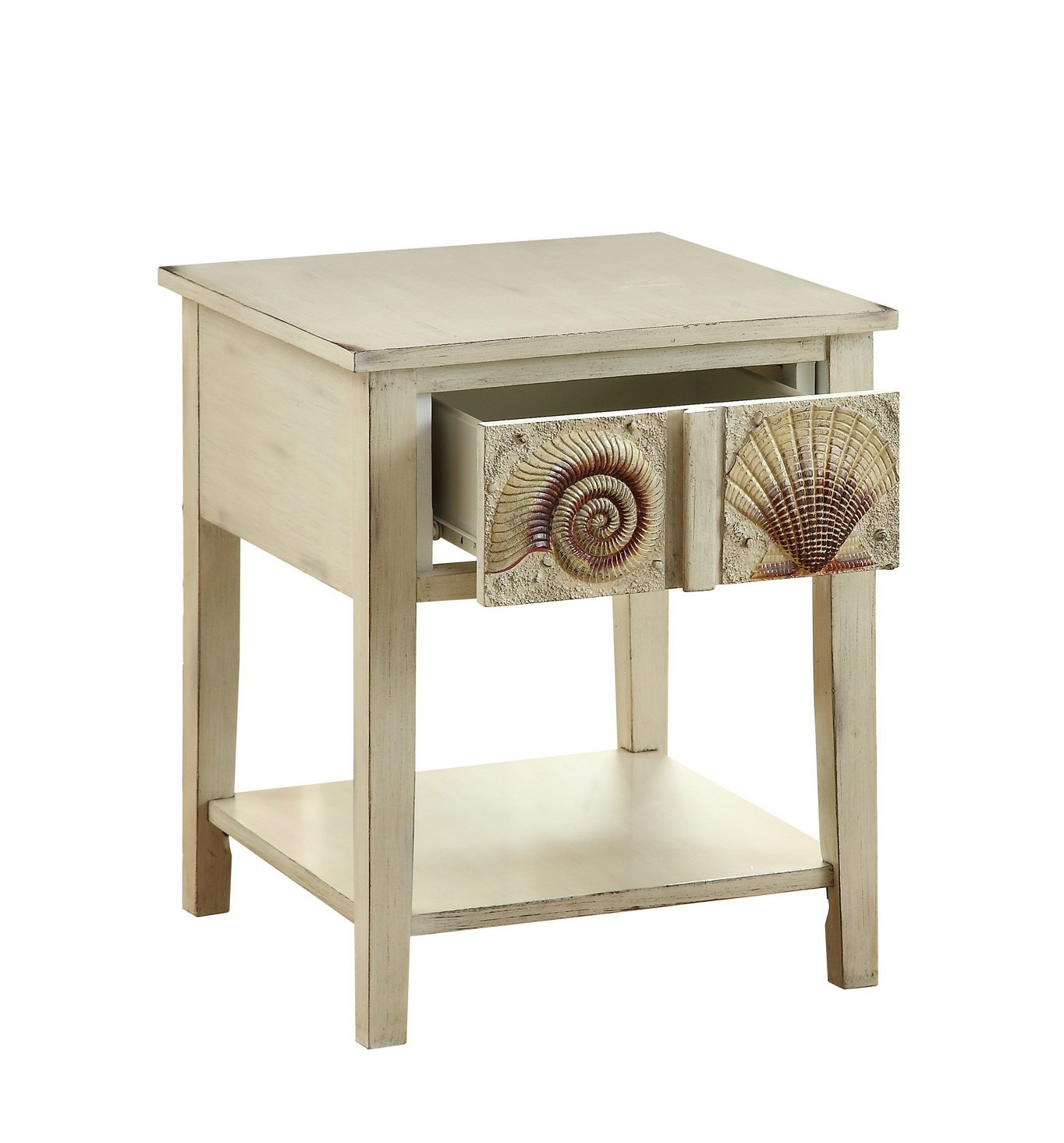 treasure trove accents surfside end table accent distressed sand kitchen dining wood and metal furniture small for patio blue white lamps black silver large with storage corner