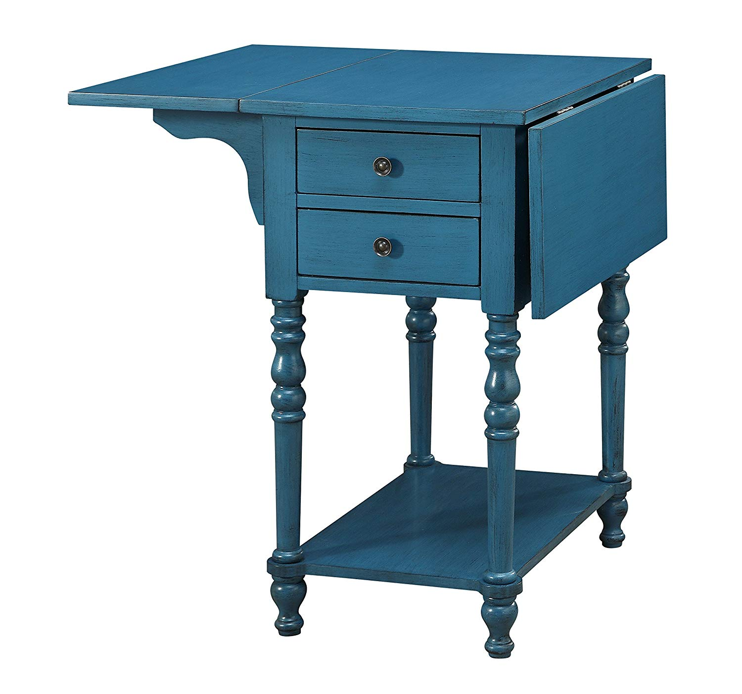 treasure trove drop leaf two drawer accent table end blue kitchen dining round tablecloth mid century glass coffee ashley furniture pub black with bench small pine affordable