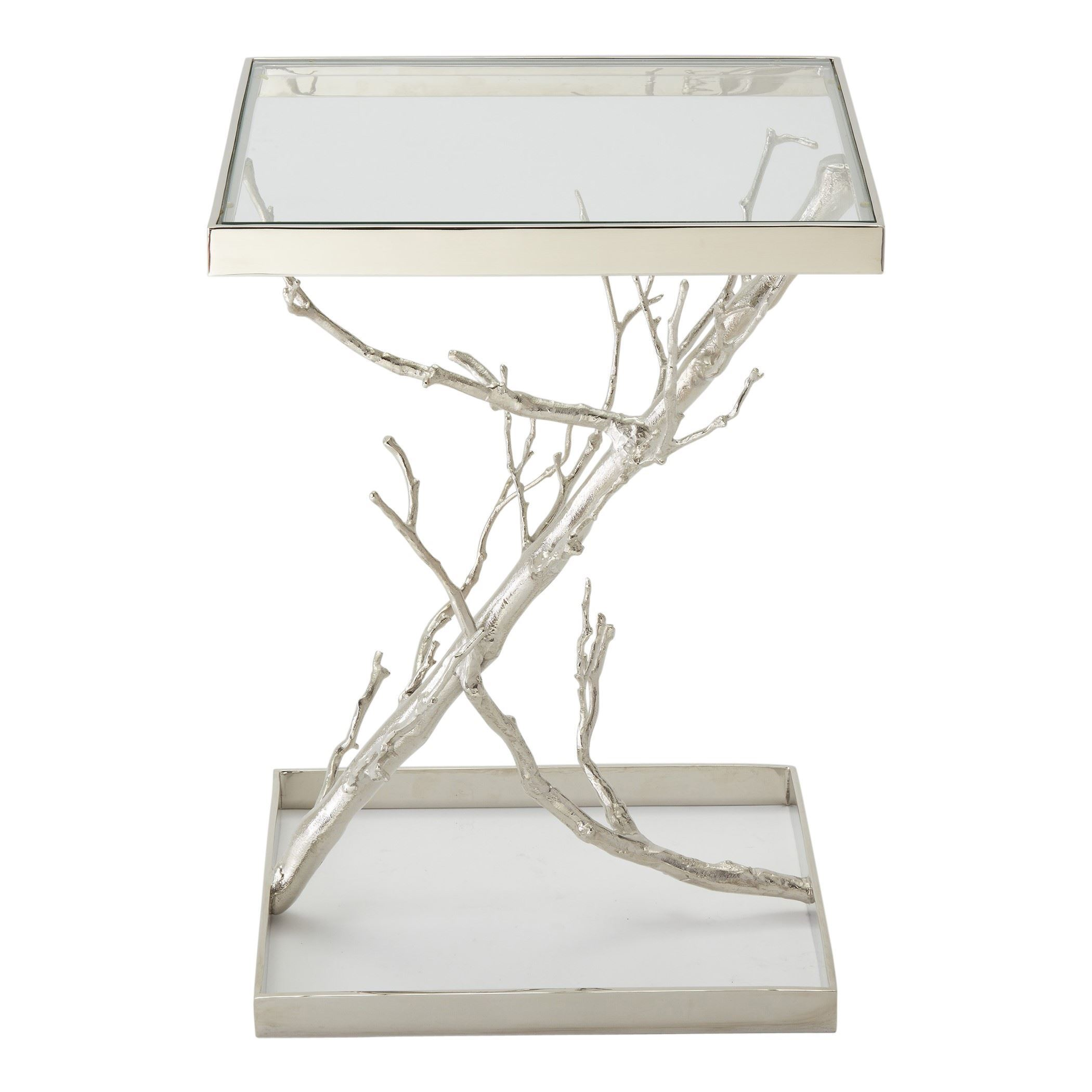 tree transitional nickel square accent table global views collapsible end mosaic garden pub height and chairs round with drawers gold marble pier one chair covers modern brass